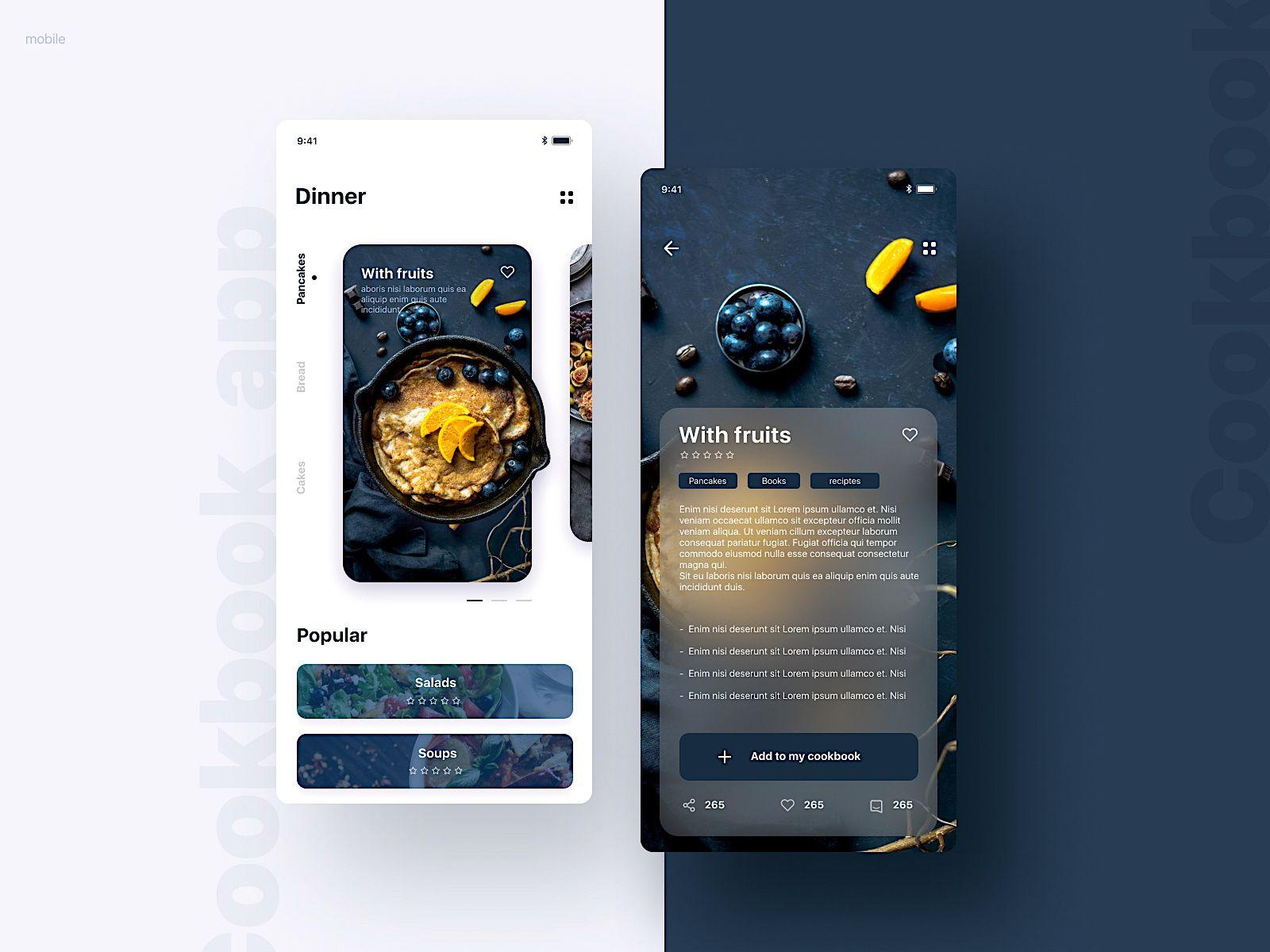 Cookbook UI mobile; app design