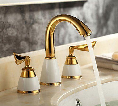 Yanksmart 3 Pcs Golden Color Tap 2 Handle Waterfall Tap Bathroom