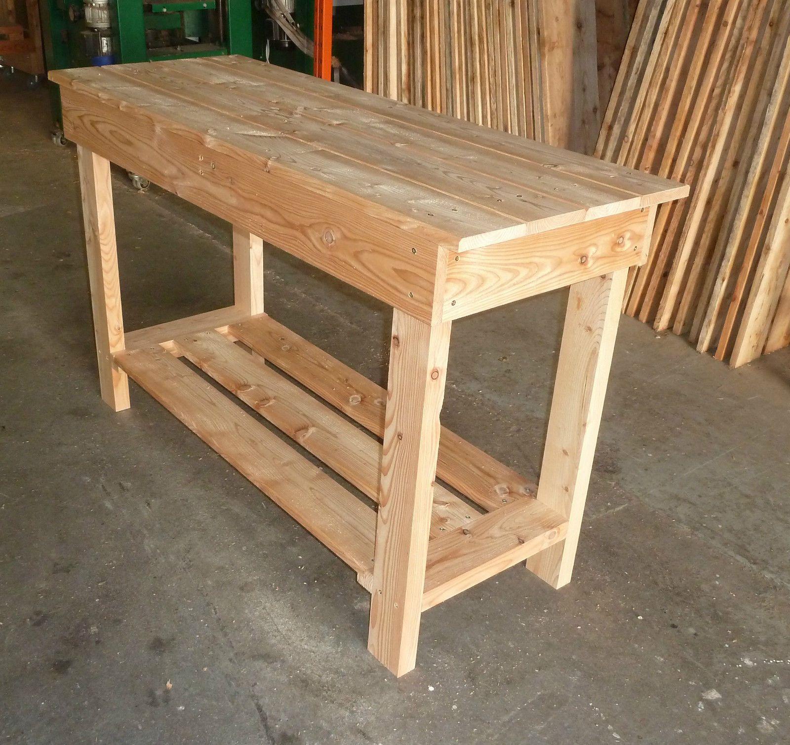 Wooden Work Bench 1.45m long great for garage v sturdy! | eBay