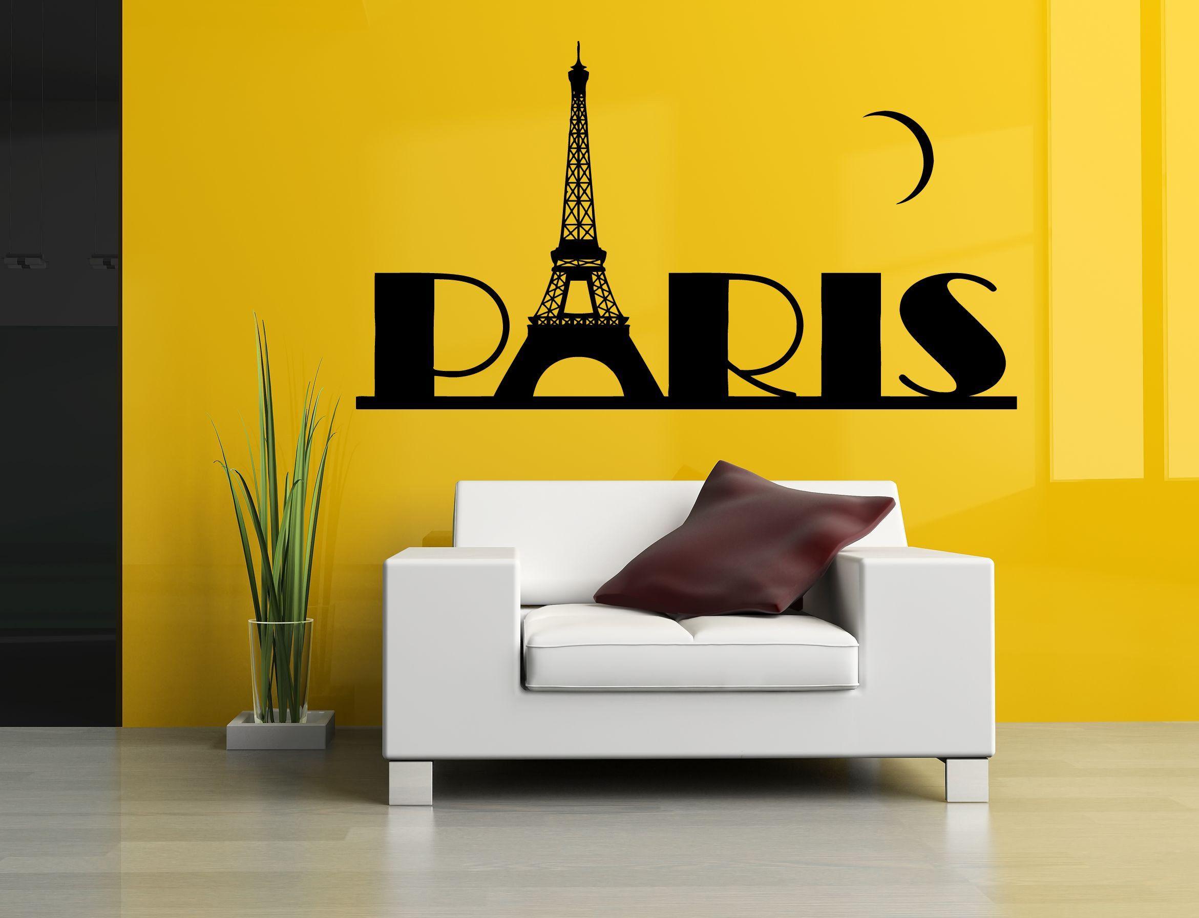 Wall Room Decor Art Vinyl Sticker Mural Decal Paris France Word Big ...