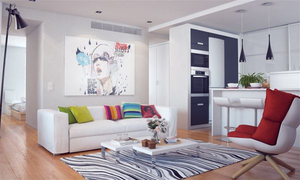 Interior visualization, colorful style by Denis Khramov, via Behance