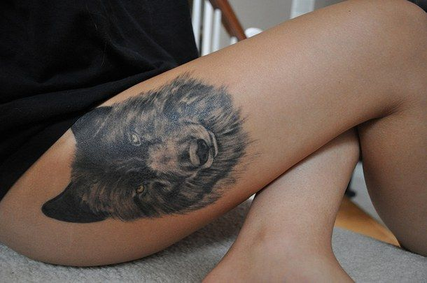 quality, tattoo, thigh, thigh tattoo, tumblr, wolf, wolf tattoo