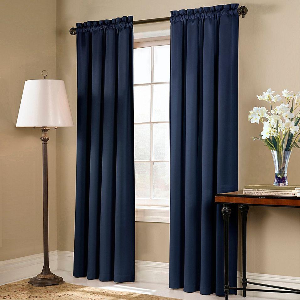 Blackstone 84 Rod Pocket Blackout Window Curtain Panel In Navy