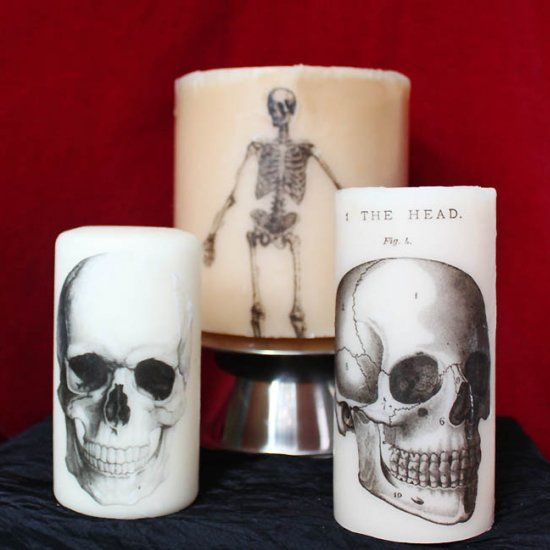 Make your own printed Halloween candles using tissue paper and a - halloween decorations to make on your own