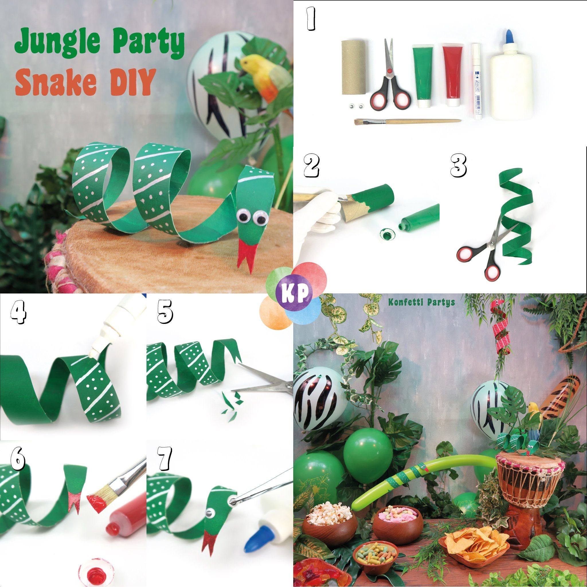Snake Diy For Your Jungle Birthday Party Decor Jungle Partydiy