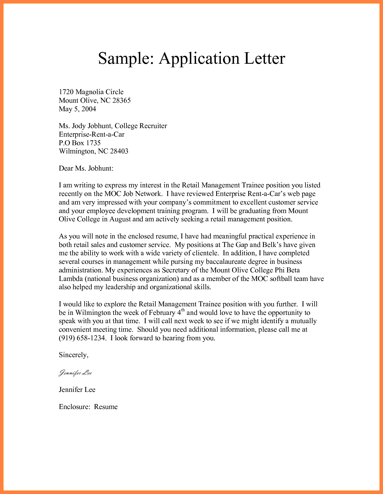 Formal Application Format Sample Letter Example Semi Block Style