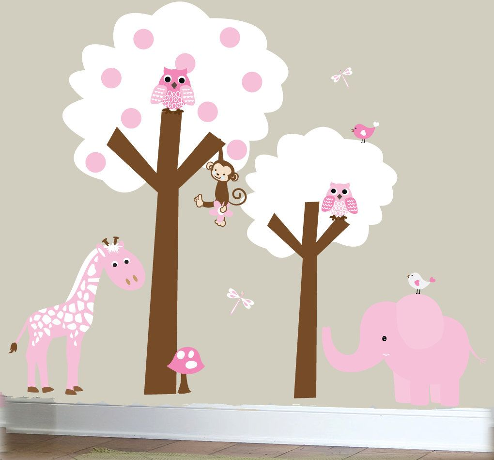 Children Wall Murals Jungle Nursery Trees Wall By Couturedecals