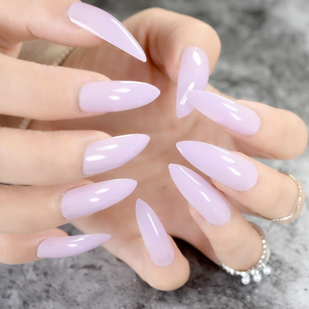 Light Purple Fake False Nails Extra Long Sharp Stiletto Nail Candy ...