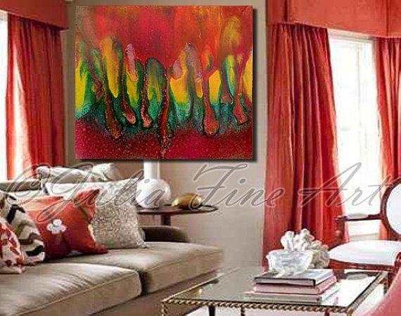 Abstract Print 40\u0027\u0027x35\u0027\u0027Rainbow Canvas Red Gold Orange Green Copper