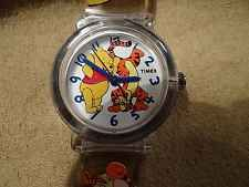 WOMEN'S DISNEY WINNIE THE POOH WATCH BY TIMEX, POOH AND TIGGER ON WHITE DIAL.