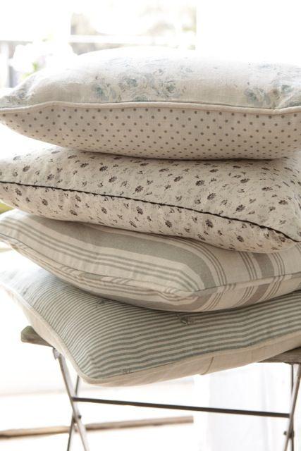 Cushions in Peony and Sage Fabrics