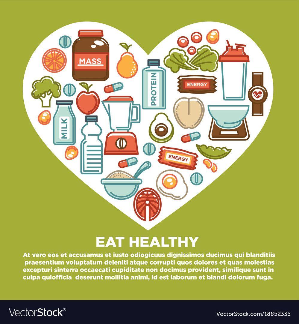 Fitness healthy food heart poster of sport diet vector
