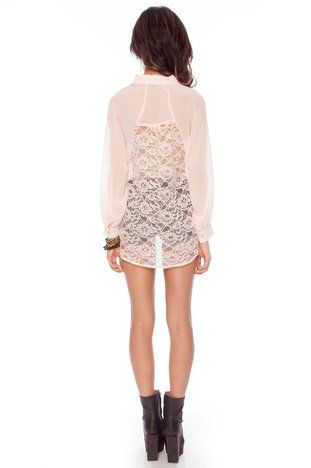 Back to Lace Button Down Blouse