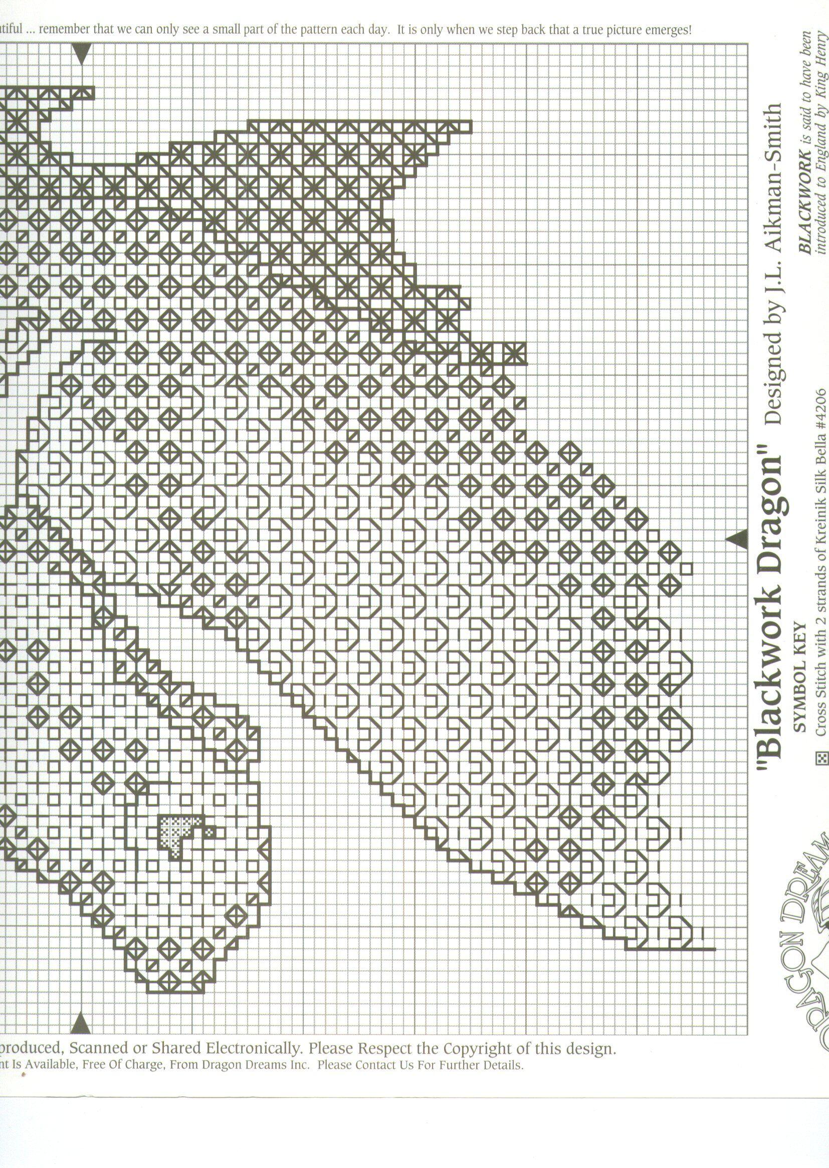 A Blackwork Fantasy Dragon Cross Stitch Chart