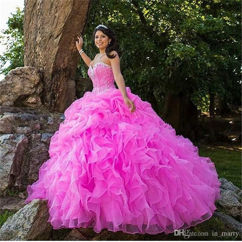 Masquerade Sweet 16 Ball Gown Quinceanera Dresses 2016 Hot Pink ...