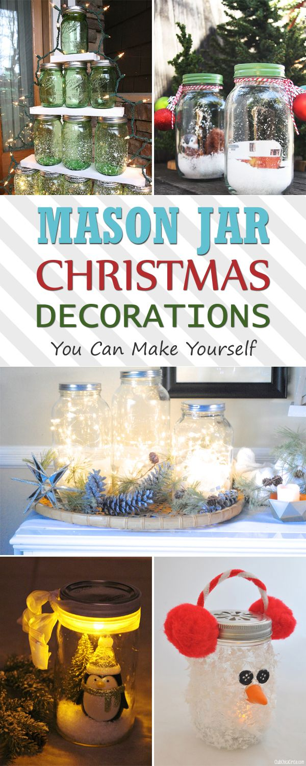 12 mason jar christmas decorations you can make yourself mason jar christmas decoration and. Black Bedroom Furniture Sets. Home Design Ideas