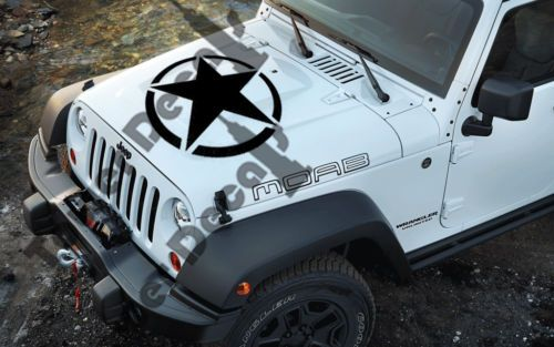 Jeep Willys Army Stars Hood 21 Hood Wheel Cover Vinyl Decal For
