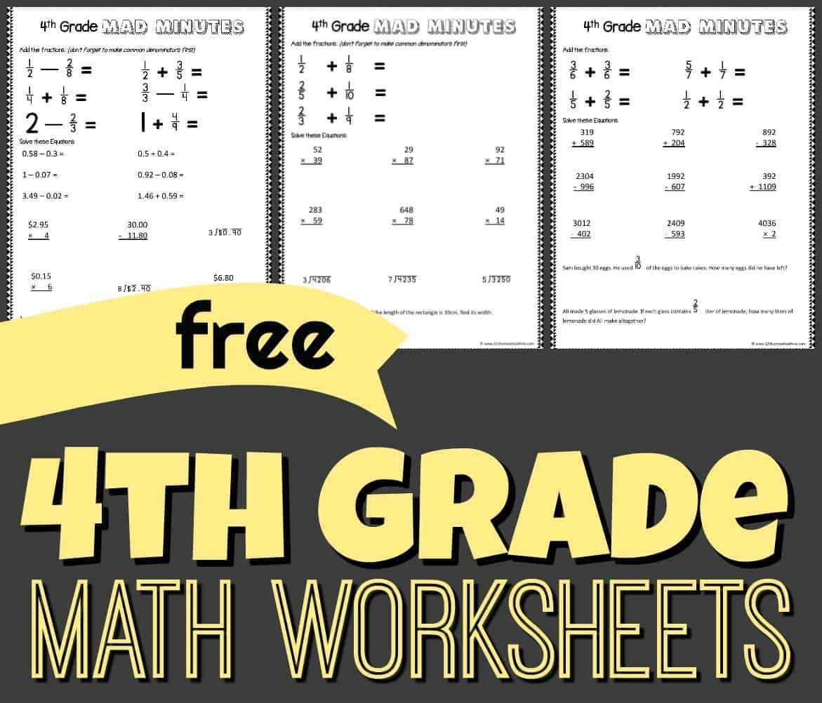 Free 4th Grade Math Worksheets In 2020 4th Grade Math 4th Grade Math Worksheets Math Worksheets