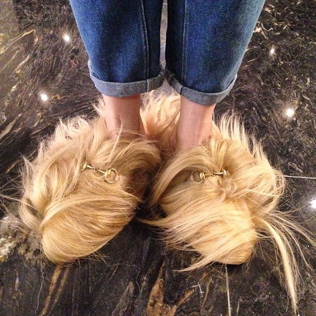 7928e46a6 GUCCI Tibet goat fur trimming slipper from @gucci 2015 f/w collection | the  'Princetown' slip-on loafer