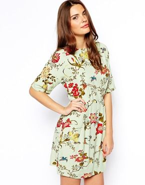 ASOS Mini Wiggle Dress in Bird and Floral Print