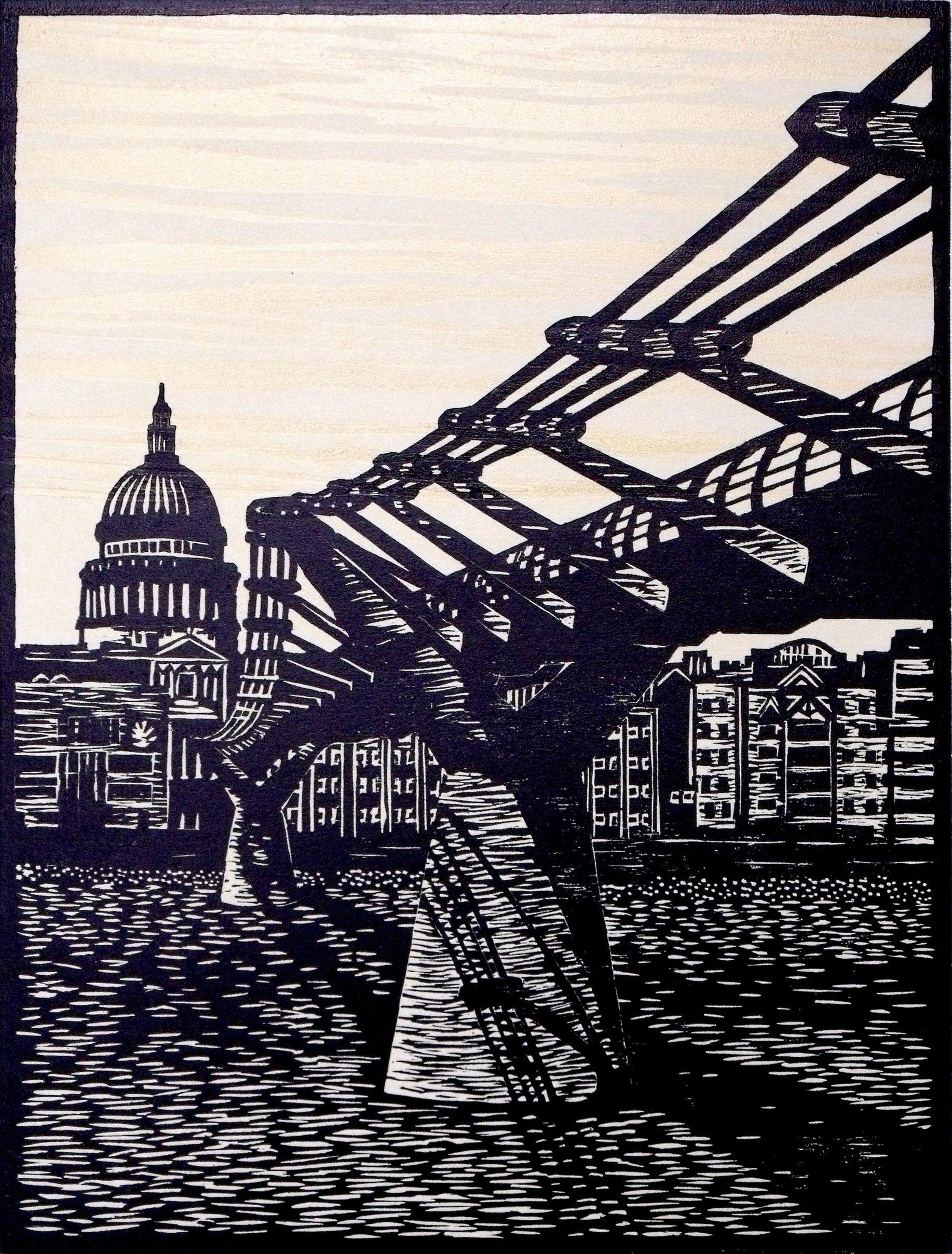 St Pauls & Millennium Bridge, London. woodcut