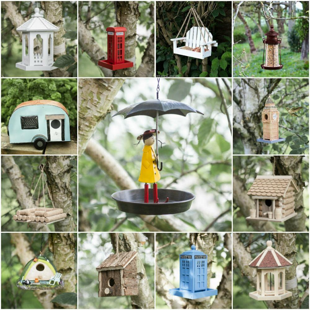 garden mile Novelty Blue Wooden Garden Bird House Colourful Predator Proof Bird Nesting Box For Small Birds Garden Ornaments