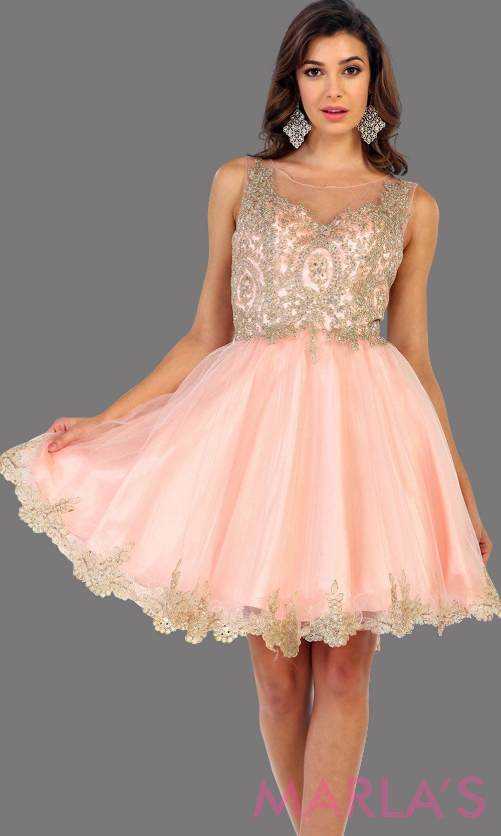 c8d55f4f34a Short high neck pink grade 8 grad puffy dress with gold lace. This blush  grade 8 graduation short dress and pretty. Can be worn for quinceanera  damas