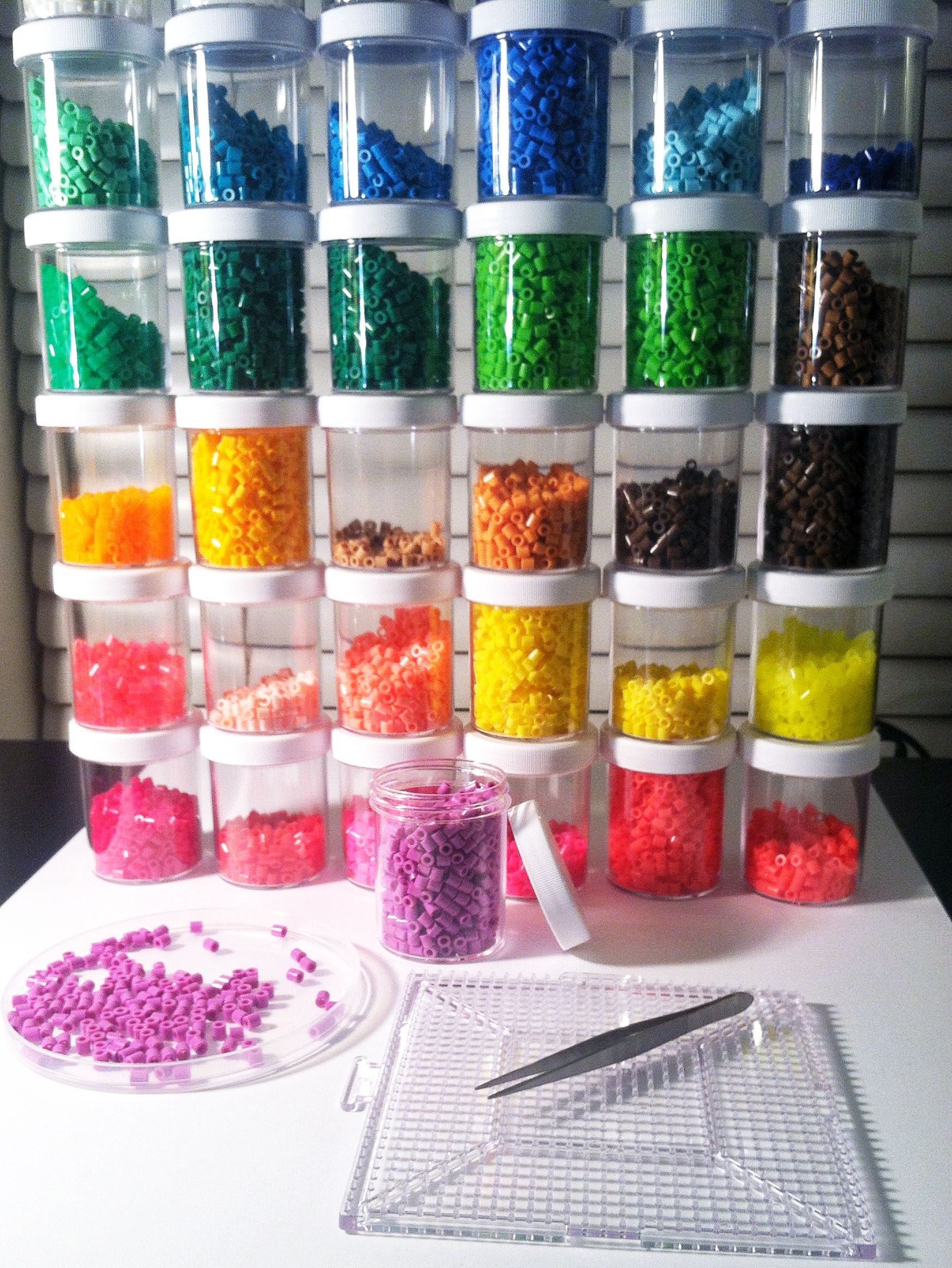 Plastic beads for crafts - Little Jars For Perler Bead Storage About 3in High X 2in Across They Hold
