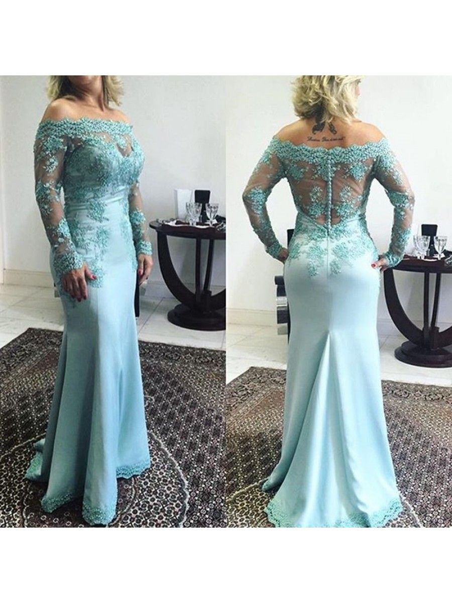Mermaid Long Sleeves Off-the-Shoulder Lace Prom Formal Evening Party ...