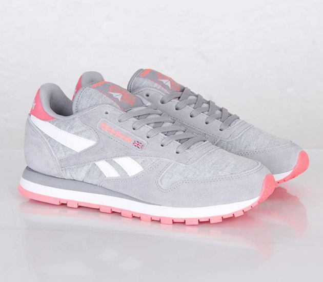 4d4cd4b660b91 Trendy Women s Sneakers   Reebok Classic Leather Seasonal-Tin Grey-White-Punch  Pink