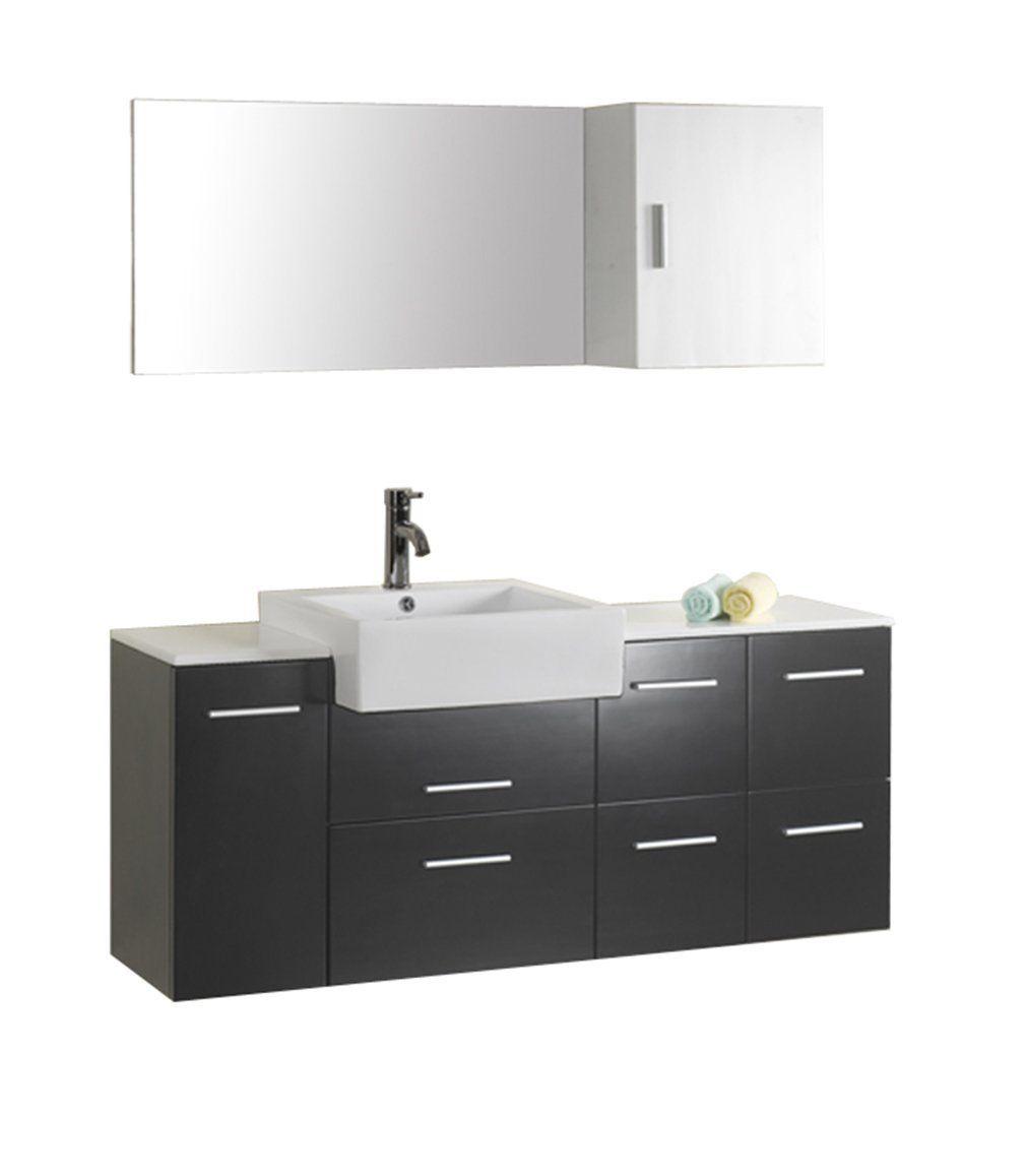Virtu usa hazel 56 inch single sink bathroom vanity set free - Virtu Usa Hazel Wall Mounted Single Sink Bathroom Vanity With White Stone Countertop Mirror And Medicine Cabinet Black Finish