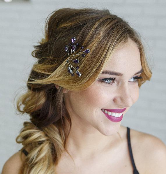 Purple Hair Piece Lilac Headpiece Lavender Wedding Comb Guest Accessories Bridal P