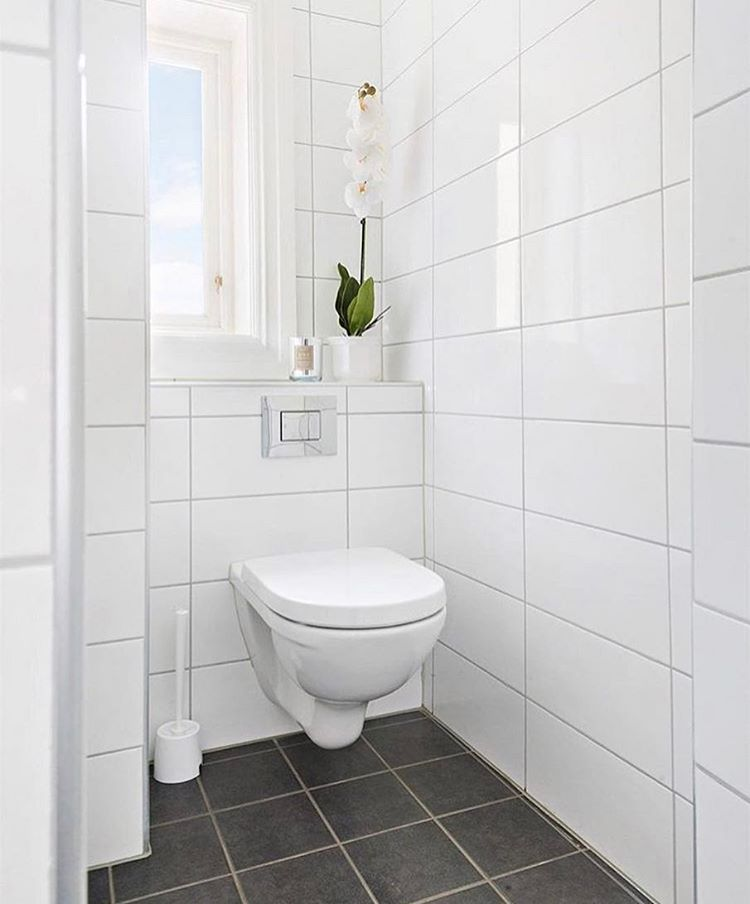 Large White Tiles For This Powderoom Look So Clean And Crisp I
