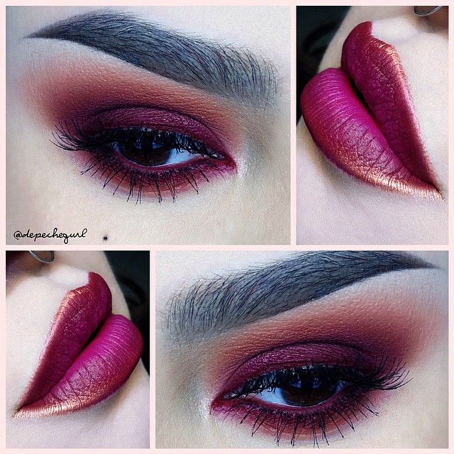 """#ShareIG Lips - MAC """"Fashion Revival"""" Lipstick and """"Copper Sparkle"""" Pigment. Eyes - @makeupgeektv """"Poison"""" Gel Liner, Stila """"Deep Fuchsia"""" Eyeliner, @occmakeup """"Rust"""" Pigment, and NARS """"Persia"""" Eyeshadow. All @kizmet brushes used. @ardell_lashes Demi Wispies."""