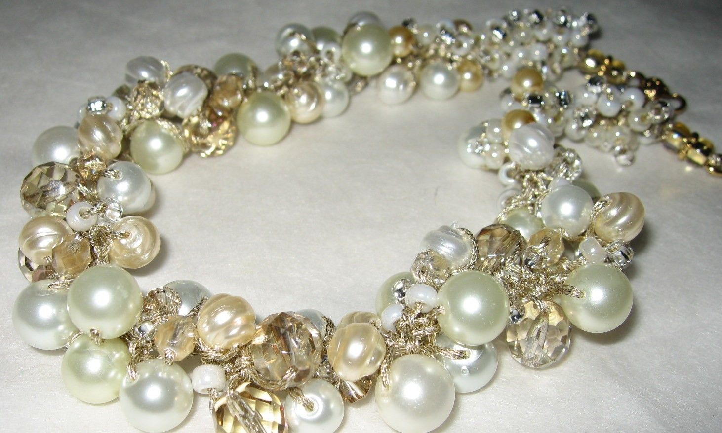 Stunning Pearl Crystal Cluster Wedding Hollywood REGENCY Statement Necklace, Golden HONEY PEAR, Unique Hand Knit wearable  art fiber jewelry. $74.00, via Etsy.