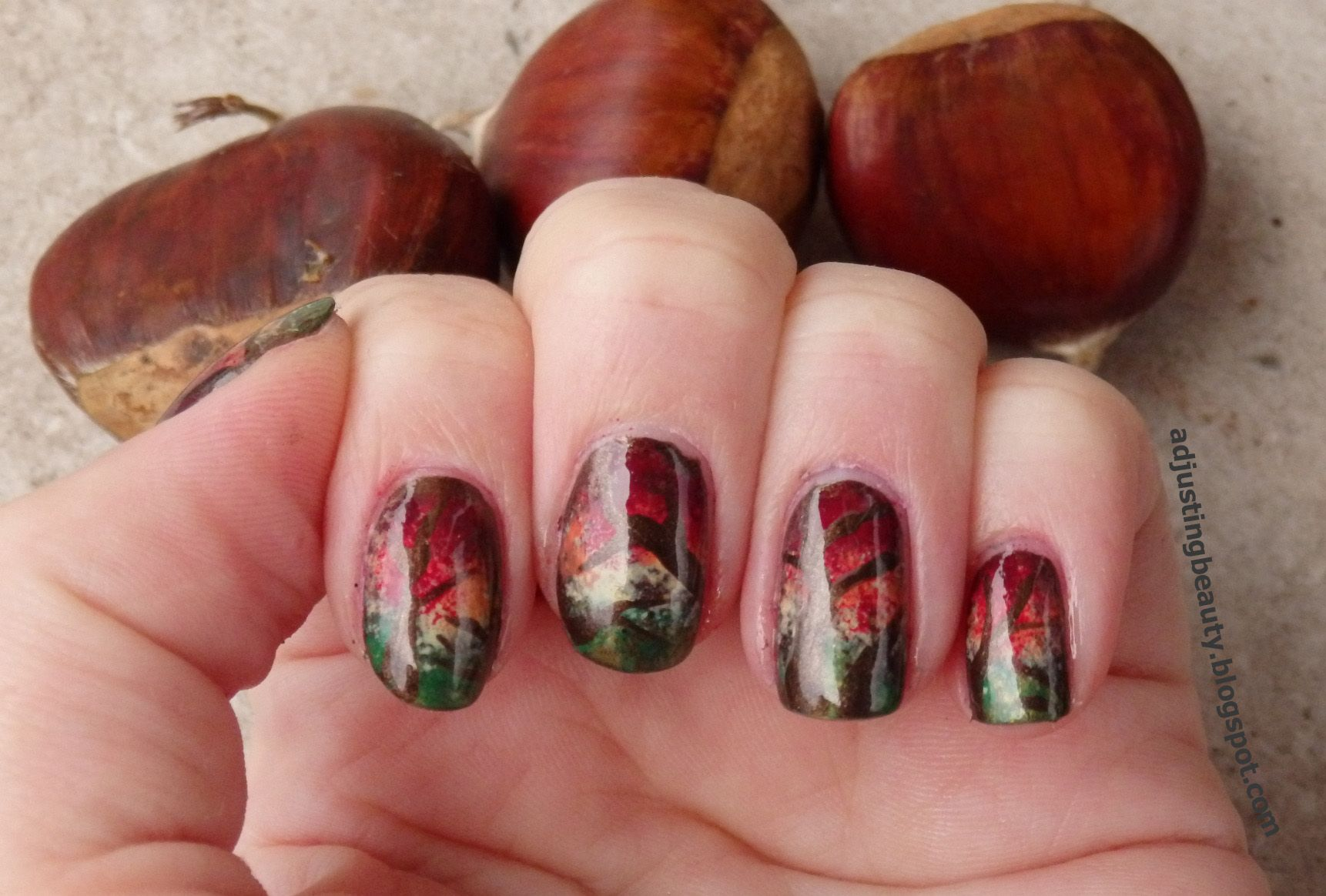 Fall / Autumn forest nail design (abstract fall nails) | My Nail ...