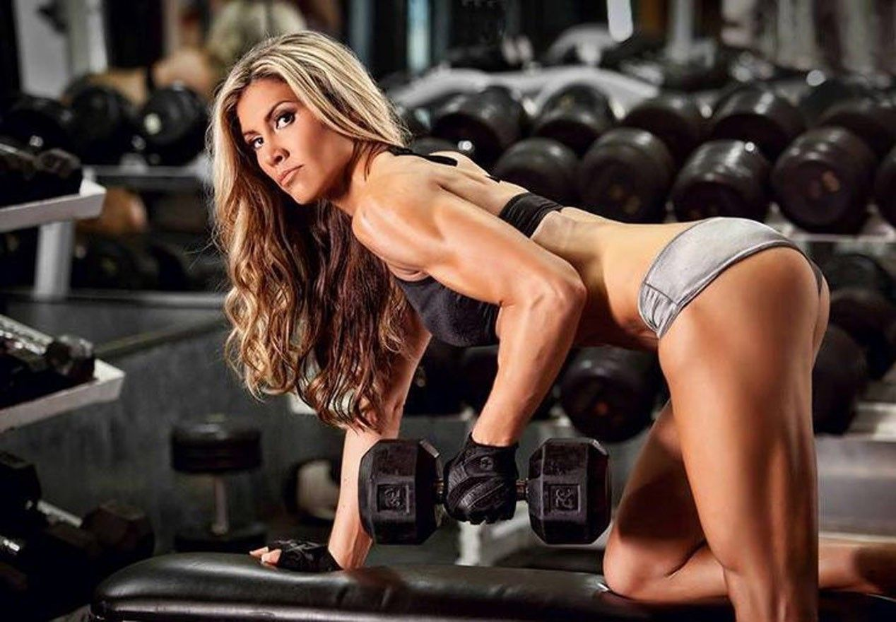 Image result for sexy chick dumbbell rows