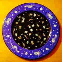 Plankton plate, old pattern painted by artist Geoff Graham of CInnabar Ceramics in Vallejo, California.