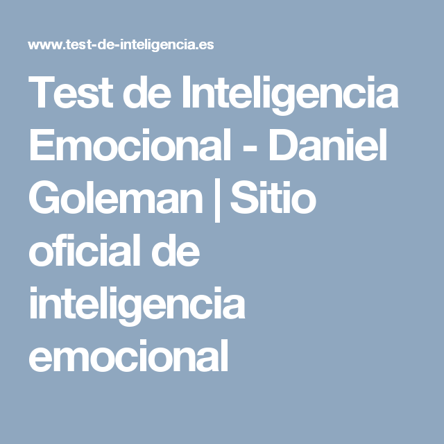 Test de Inteligencia Emocional - Daniel Goleman | Sitio