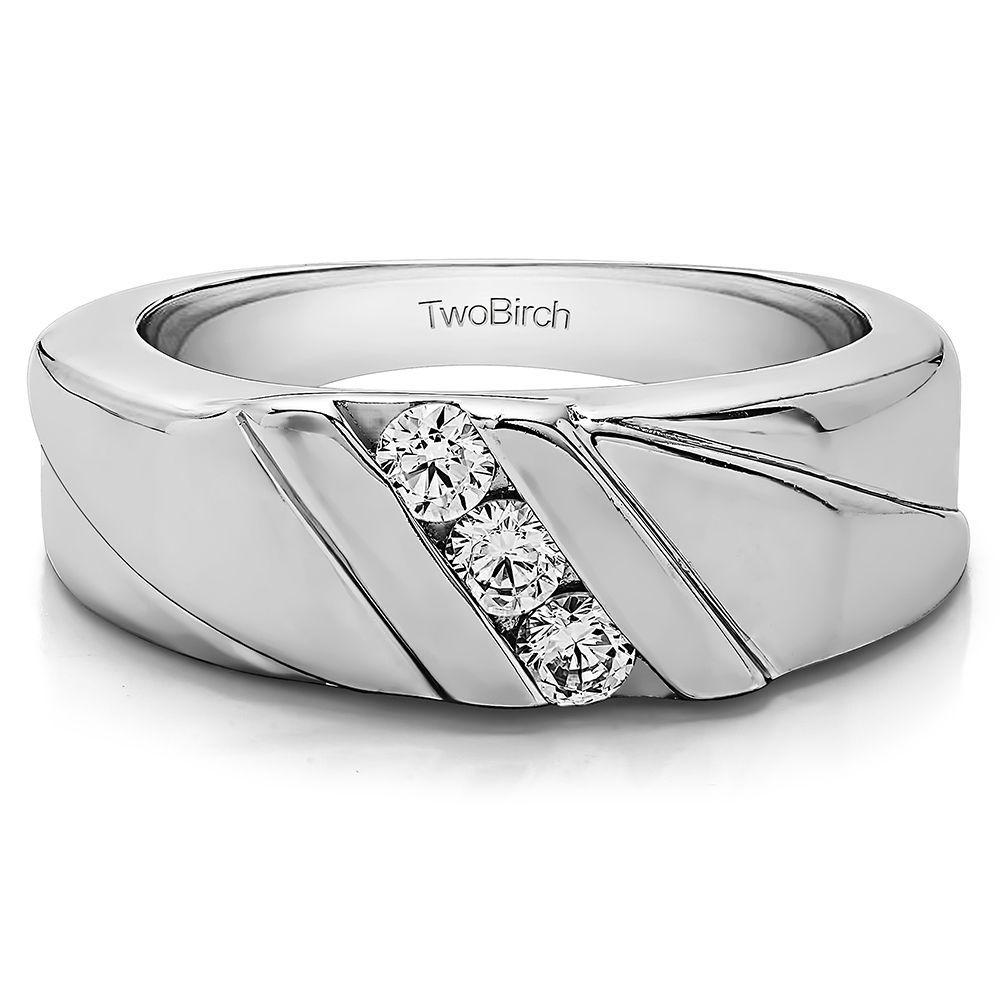 14k White Gold Men S Wedding Ring Or Fashion Ring With Diamonds G H