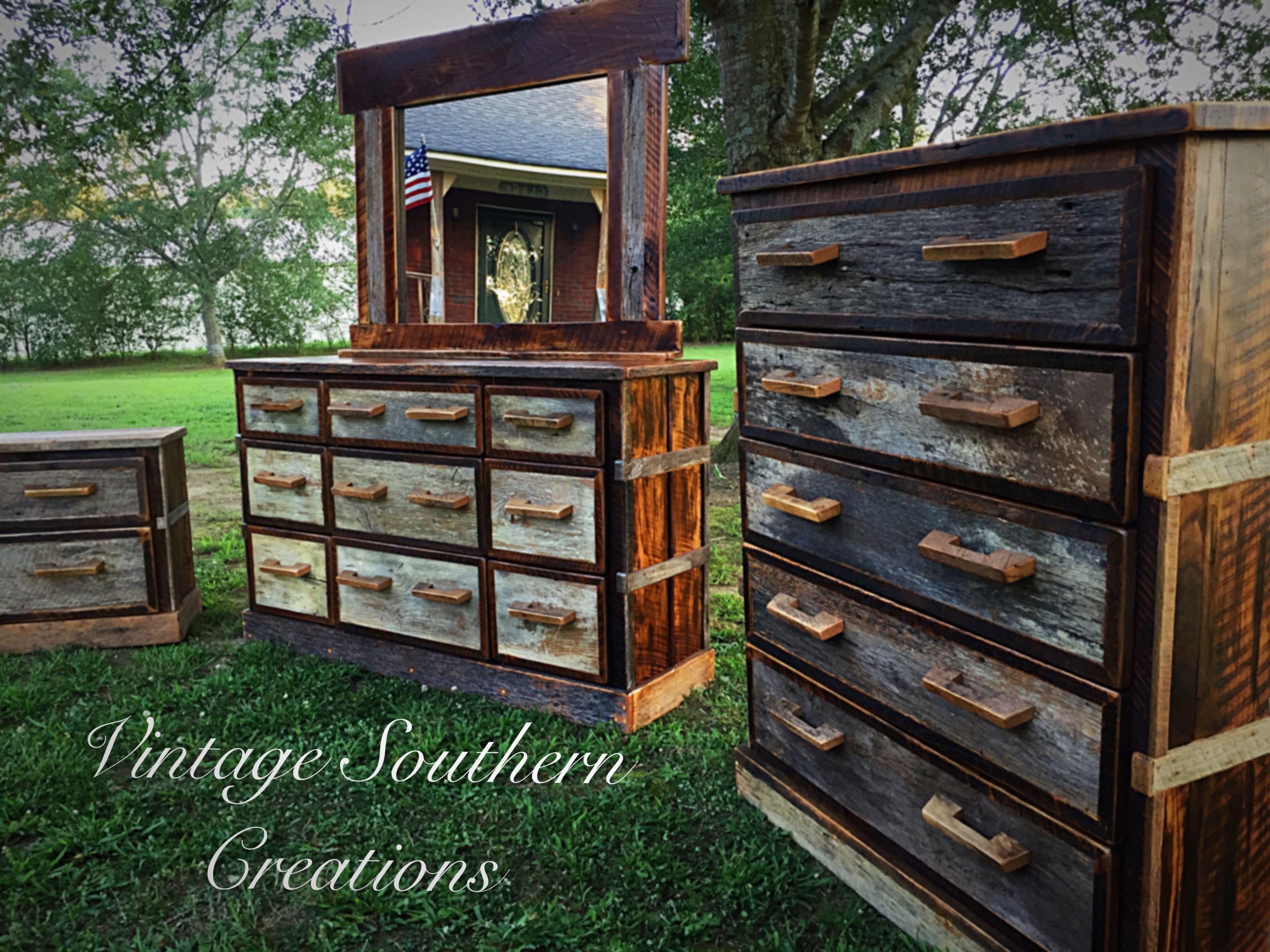 reclaimed barn wood bedroom suitvintage southern