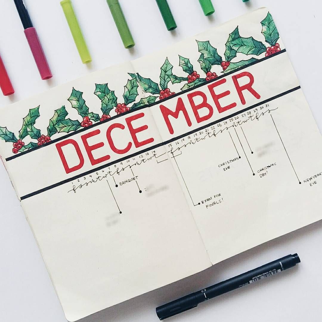 16 Stunning December Inspired Bullet Journal Spreads + December Plan with me Video! | My Inner Creative | #bujo #bulletjournal #decemberbujo | December bullet journal layout | design | christmas bujo | minimal theme