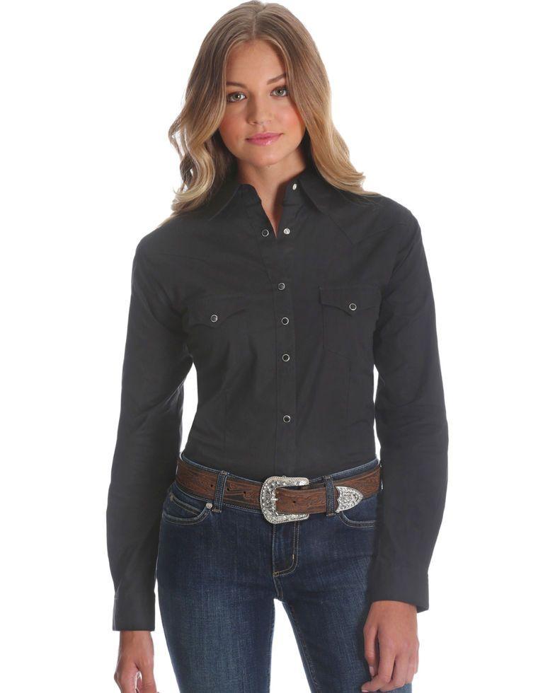 Wrangler Women S Black Long Sleeve Western Top In 2020 Western Tops Black Long Sleeve Women