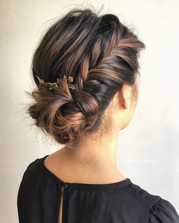 Fishtail side bunwedding hairstylewedding hair ideasbridal hairbridal hair dbunwedding