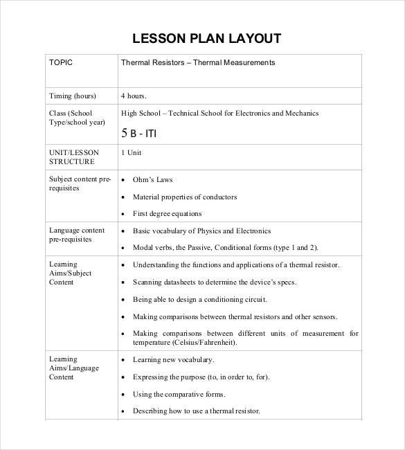 Lesson Plan Layout Template  Seven Things To Expect When Attending Lesson Plan Layout Templat...