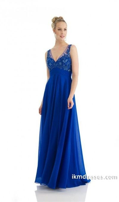 2015 V Neck Beaded Applique Embellished Bodice Ruffled A Line Prom Dress Chiffon Low Back