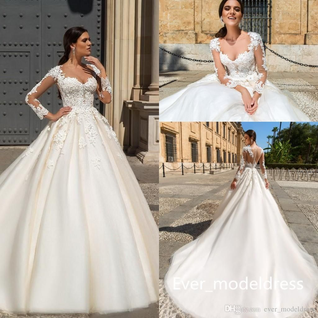Dhgate wedding dresses plus size  Discount  Sxey Lace Wedding Dresses Sheer Neck Illusion Back