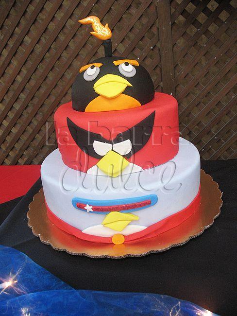 Angry Birds SPACE fondant cake lazer red bird black bomb ...