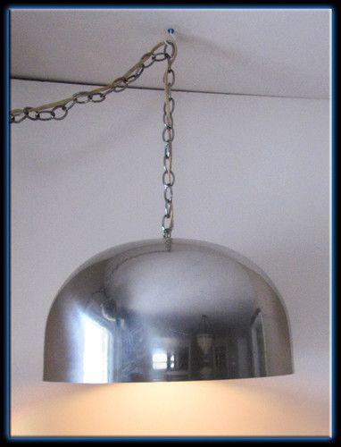 Vtg Retro 60s Large Flos Inspired Chrome Dome Ceiling Light Fixture