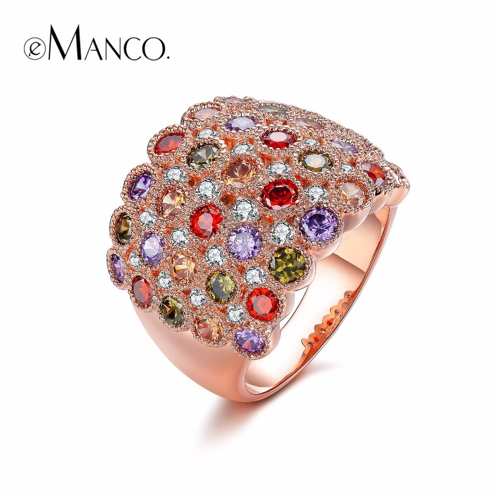 Emanco color popular luxury classic cocktail rings for women
